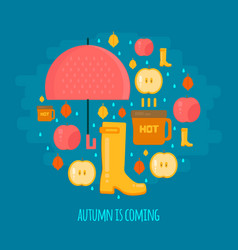 Autumn rain composition in flat style vector
