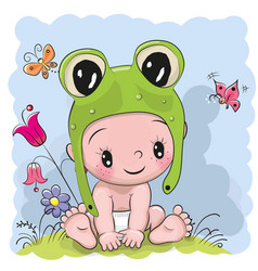 cute cartoon baby in a froggy hat on the meadow vector image