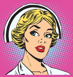 avatar portrait of a retro nurse vector image