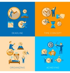 Time management flat composition icons set vector