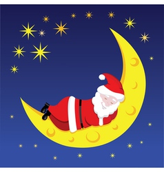 Santa sleeping on the moon vector