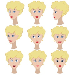 Set of variation of emotions of the same girl with vector