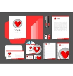 Red corporate identity template design hearts vector