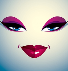 Coquette woman eyes and lips stylish makeup people vector