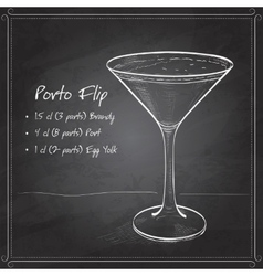 Porto flip cocktail on black board vector