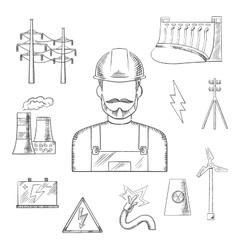 Electricity and power industry icons sketches vector