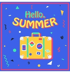 Hello summer summer background in style of 80s vector