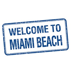 Welcome to miami beach blue grunge square stamp vector