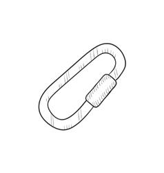 Climbing carabiner sketch icon vector image