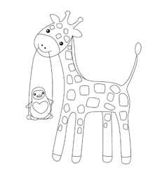 Coloring page little cute giraffe and penguin vector