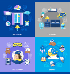 Bedtime 4 flat icons square vector