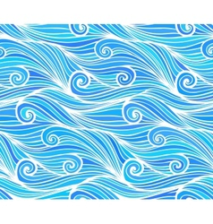 Blue curly waves seamless pattern vector image