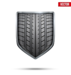 Bright shield in the racing tire inside vector image