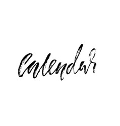 Calendar handdrawn calligraphy black vector