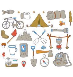 Camping adventure set vector image vector image