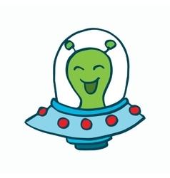 Cartoon alien drive ufo vector