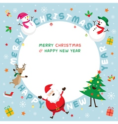 Christmas Frame Santa Claus and Friends Lettering vector image vector image