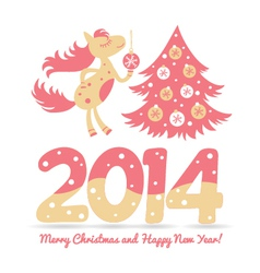 Christmas horse decorates the christmas tree vector