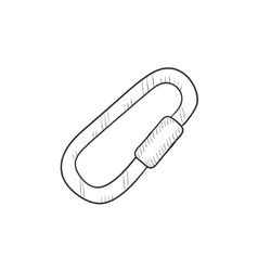 Climbing carabiner sketch icon vector