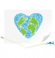 drawing green earth blue heart vector image vector image