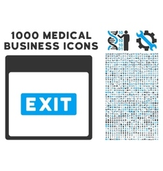 Exit caption calendar page icon with 1000 medical vector
