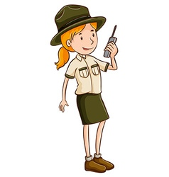 Female park ranger talking on radio vector