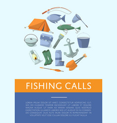 Fishing shop advertising poster in flat style vector