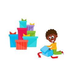 flat african black boy opening present box vector image