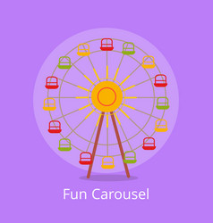 Fun carousel closeup isolated on light purple vector