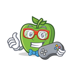 Gamer green apple character cartoon vector