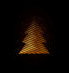 gold geometric christmas tree on black background vector image vector image