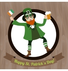 Green Leprechaun with beer and Irish flag vector image