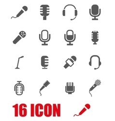 grey microphone icon set vector image