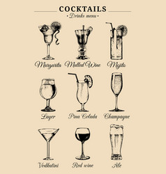 Hand sketched alcoholic beverages and cocktails vector