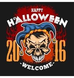 Happy halloween evil clown skull vector