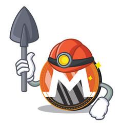 Miner monero coin character cartoon vector