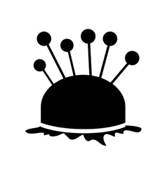 Monochrome silhouette pincushion with pins icon vector