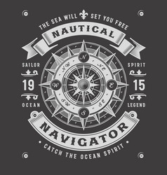 nautical navigator typography on black background vector image