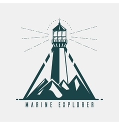 Old banner with lighthouse in mountains vector