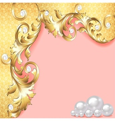 Pink background with gold ornaments vector