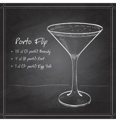 Porto flip cocktail on black board vector