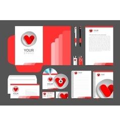 Red corporate identity template design hearts vector