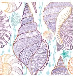 Seashell seamless pattern summer resort background vector