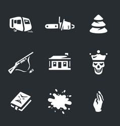 Set of horror icons vector