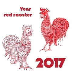 Set of red roosters Hand-drawn doodle contour vector image