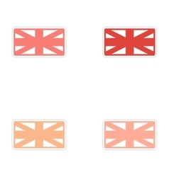 Set of stickers british flag on white background vector