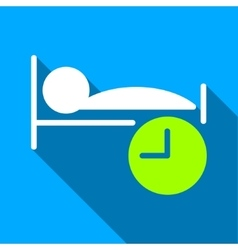 Sleep time flat long shadow square icon vector