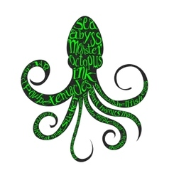 Typography lettering octopus vector