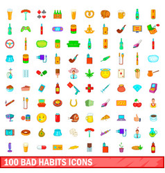 100 bad habits icons set cartoon style vector