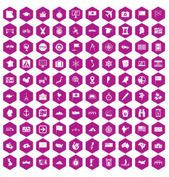 100 cartography icons hexagon violet vector
